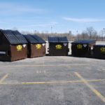 Front view of different sized dumpster rentals by B-P Trucking, Inc. in Ashland, MA
