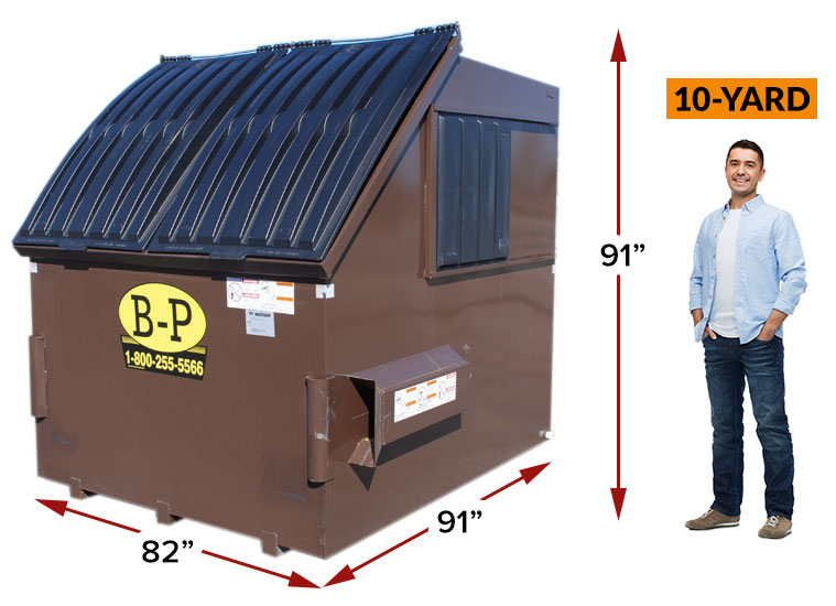 A 10-yard rear load container by B-P Trucking Inc