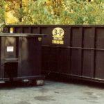 An open-top dumpster in Ashland, MA