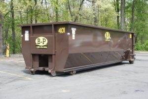 A 30-yard waste recycling container